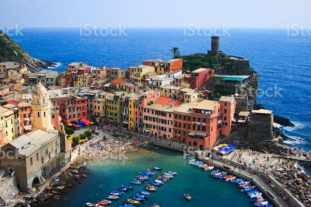 A distant photograph of Vernazza in Cinque Terre stock photo