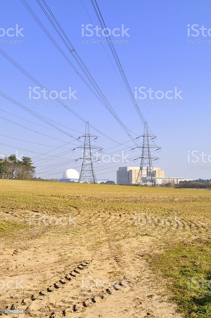 Distant power station stock photo