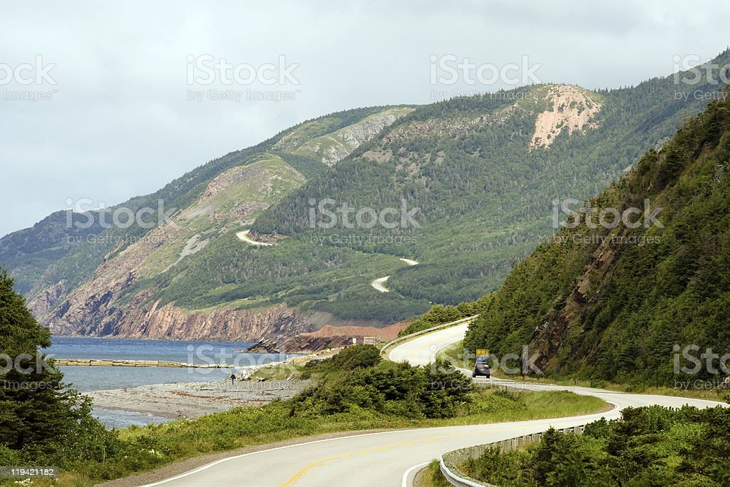 Distant shot of the Cabot Trail stock photo