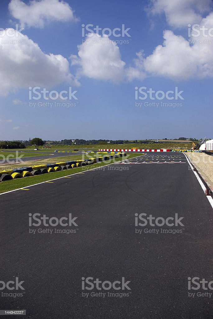 Distant start line on a race track royalty-free stock photo