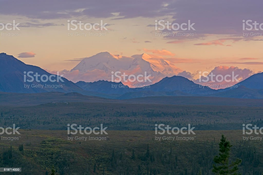 Distant Sunset of Denali stock photo