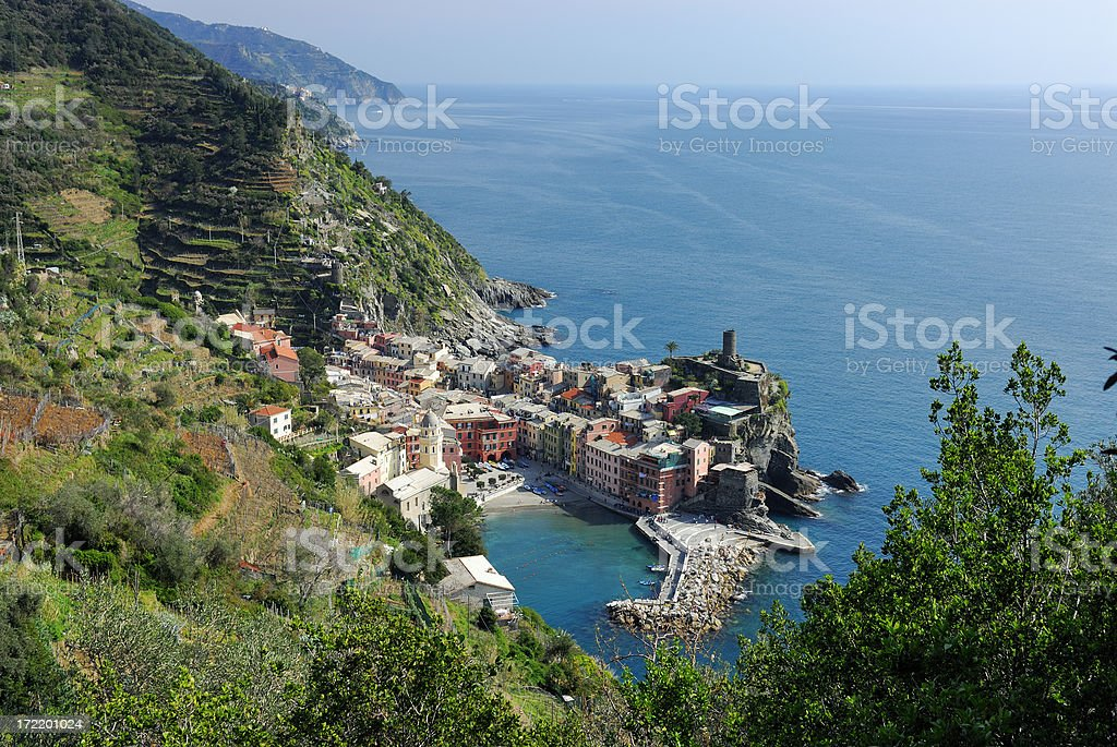 Distant vew of Vernazza, Cinque Terre, Italy royalty-free stock photo
