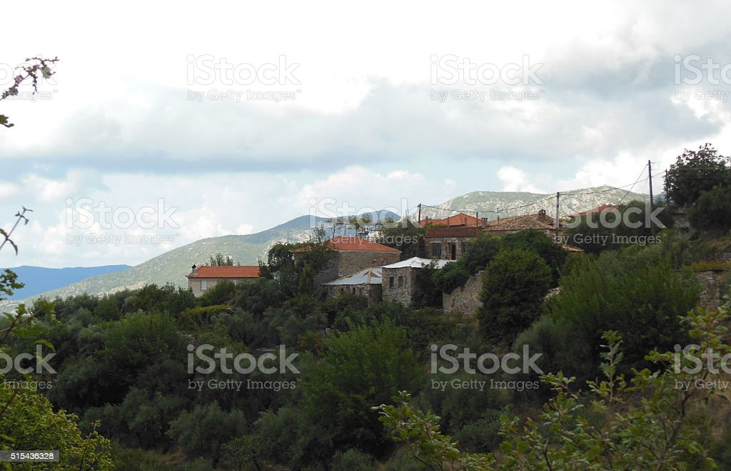 Distant view from hiking trail in Taygetos Mountains stock photo