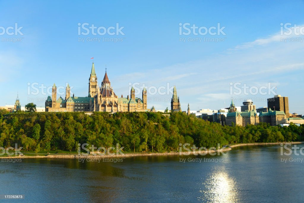 A distant view from the river of Parliament stock photo