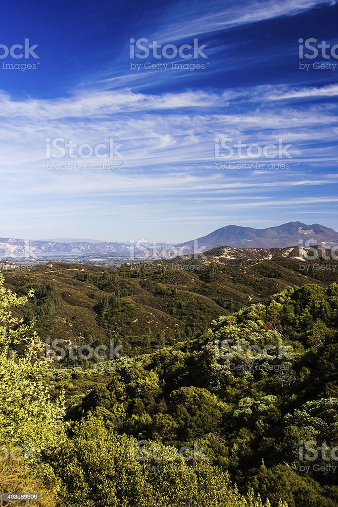 Distant view of Clearlake in Lakeport CA stock photo