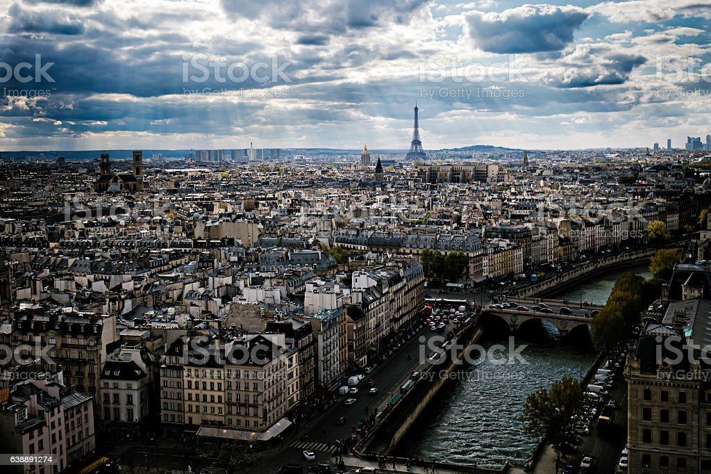 Distant view of Eiffel Tower amidst cityscape stock photo