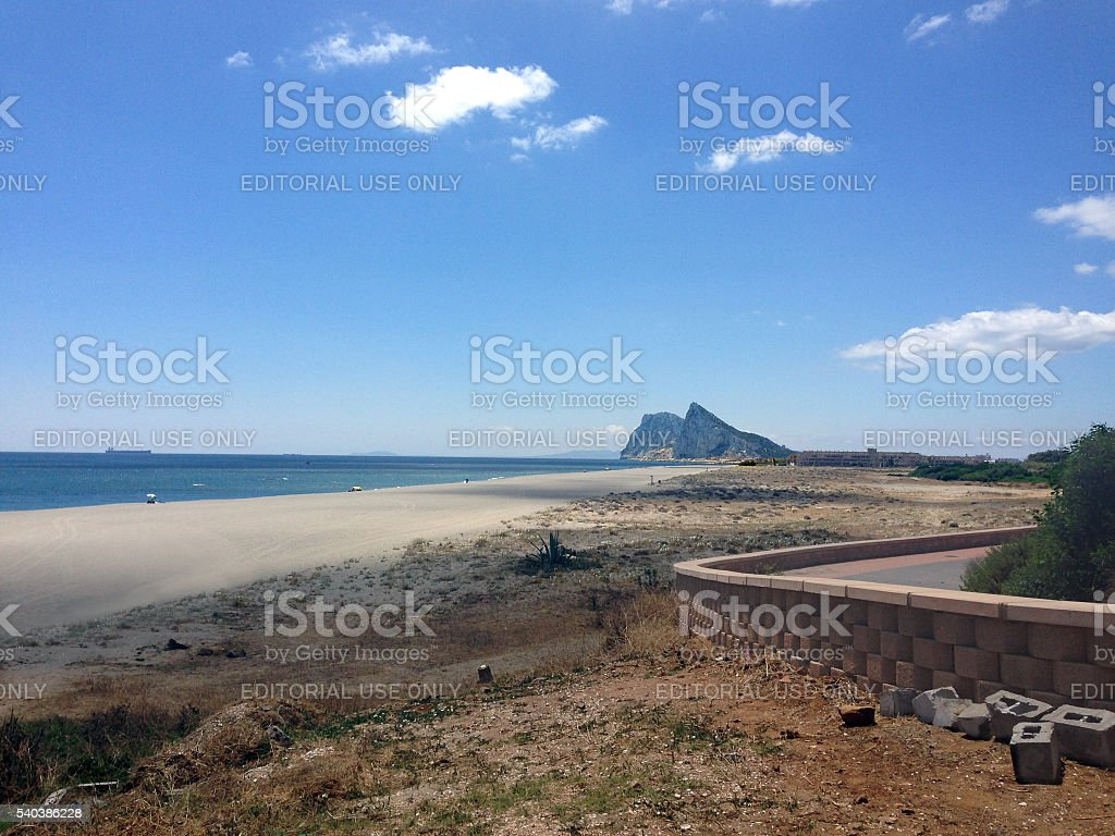 Distant view of rock of Gibraltar from the Spanish border stock photo