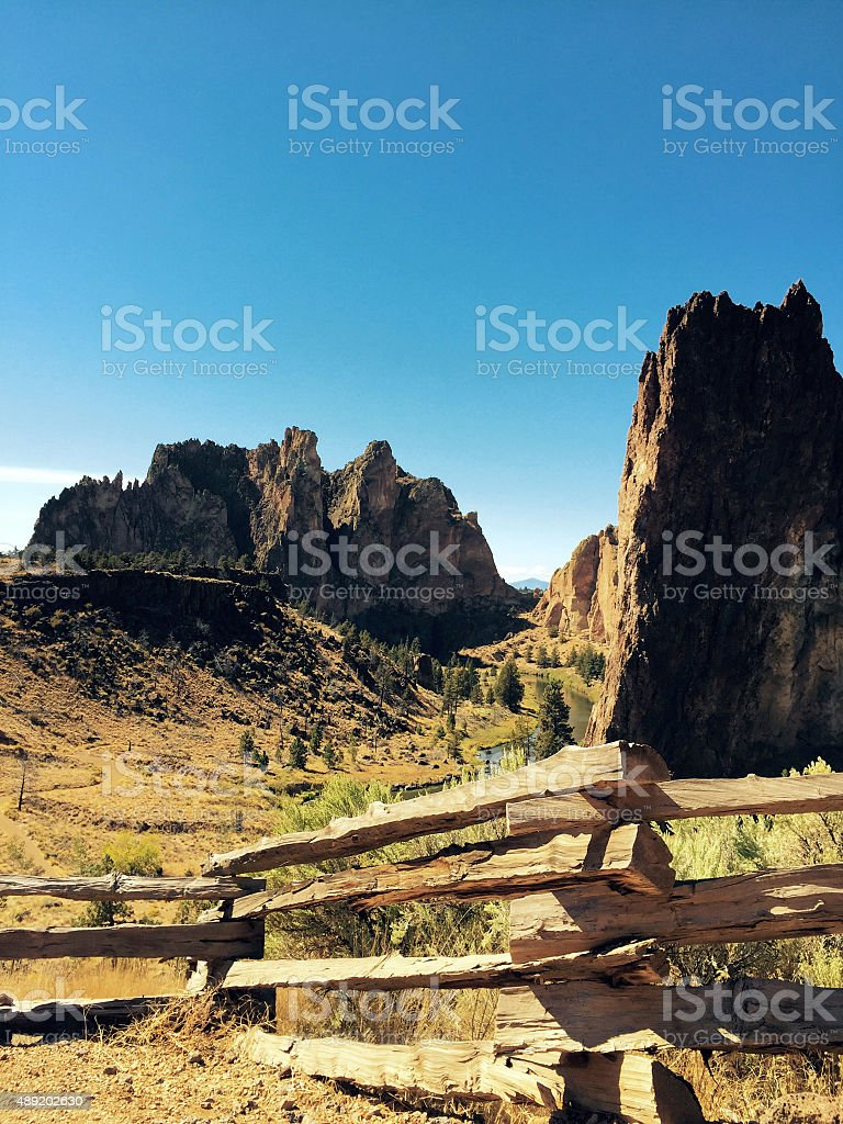 Distant view of Smith Rock State Park in Oregon stock photo