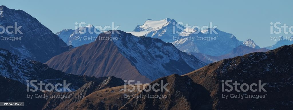 Distant view of the Diablerets glacier and mount Oldenhorn stock photo