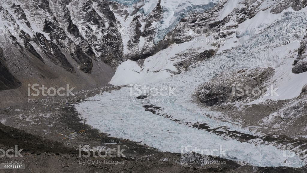 Distant view of the Everest base camp stock photo