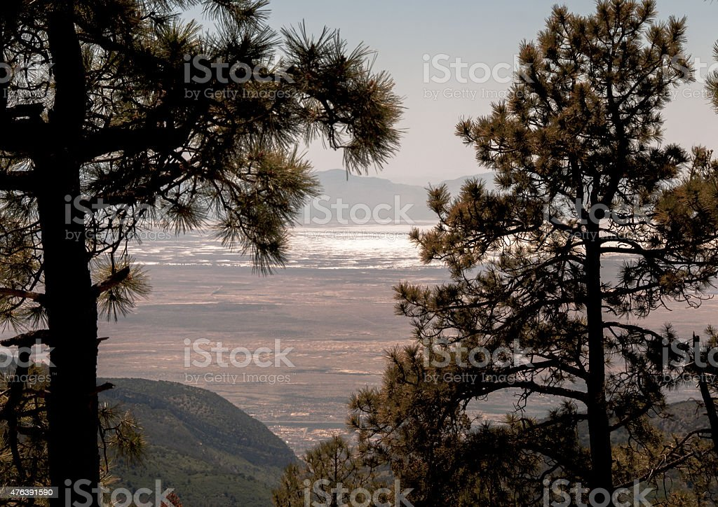 Distant View of Tularosa Basin and White Sands National Monument stock photo