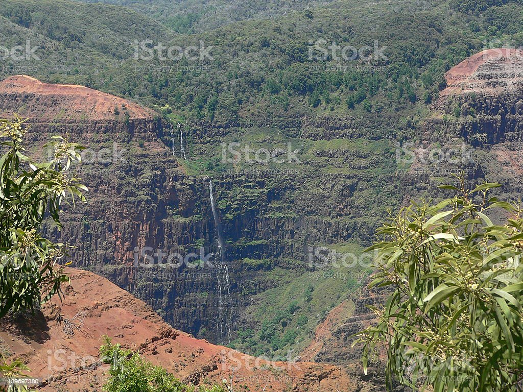 Distant Waterfall Kauai royalty-free stock photo