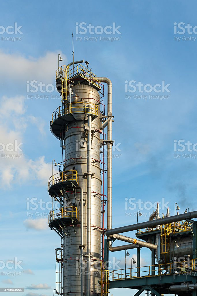 Distillation Column : Oil and gas refinery plant stock photo