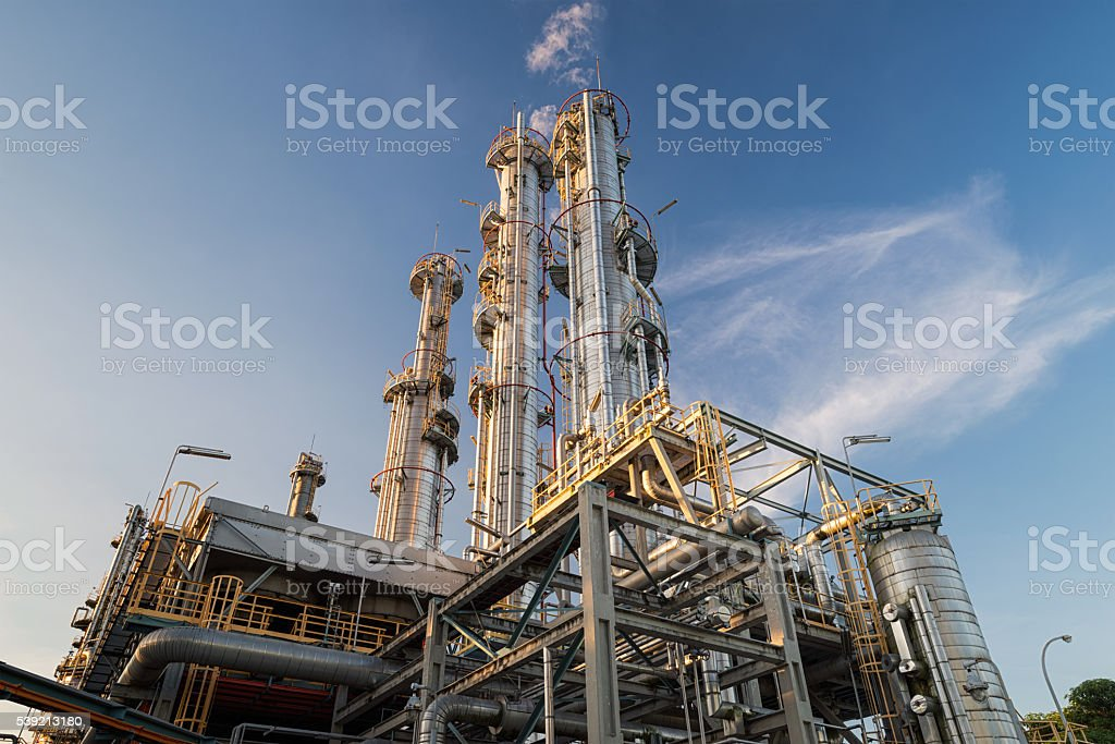 Distillation Columns and their process equipments stock photo