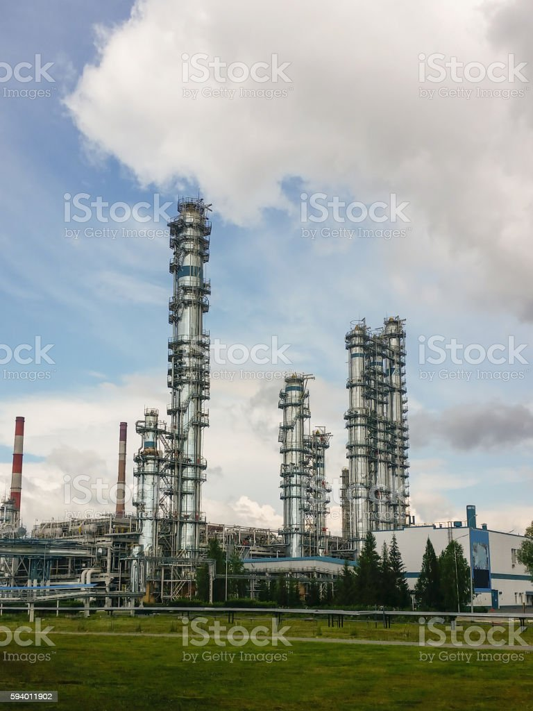 Distillation columns at a petrochemical plant stock photo