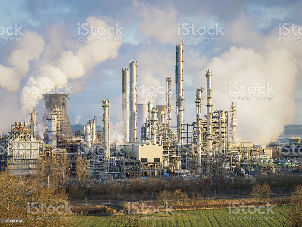 Distillation Towers at Oil Refinery stock photo