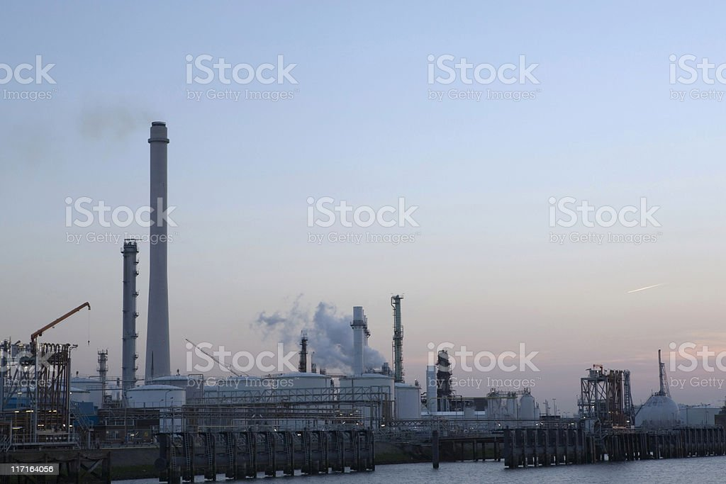 distillation towers of an oil refinery royalty-free stock photo