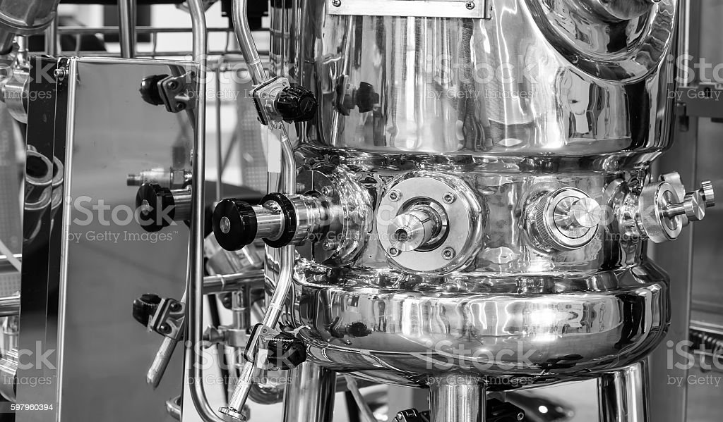 distillation vessel equipment and stainless steel machines stock photo
