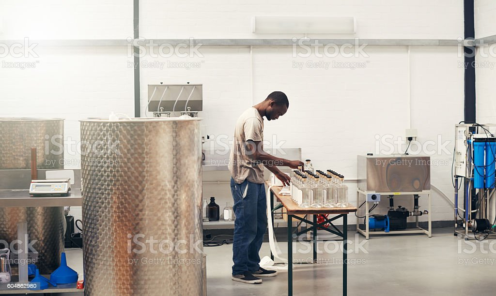 Distilled excellence from grain to glass stock photo