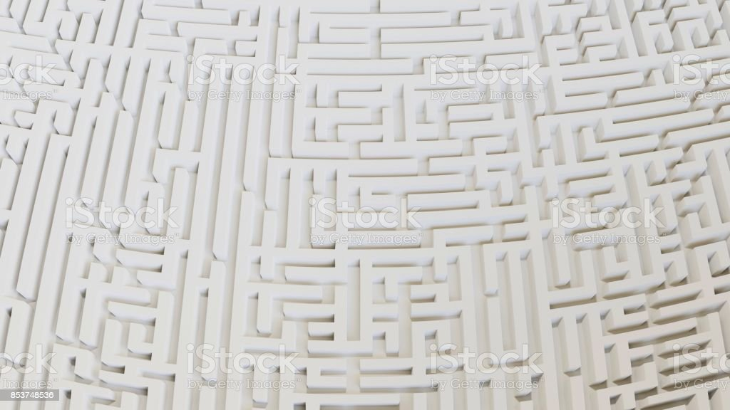 Distorted Aerial Perspective of a White Maze Landscape stock photo