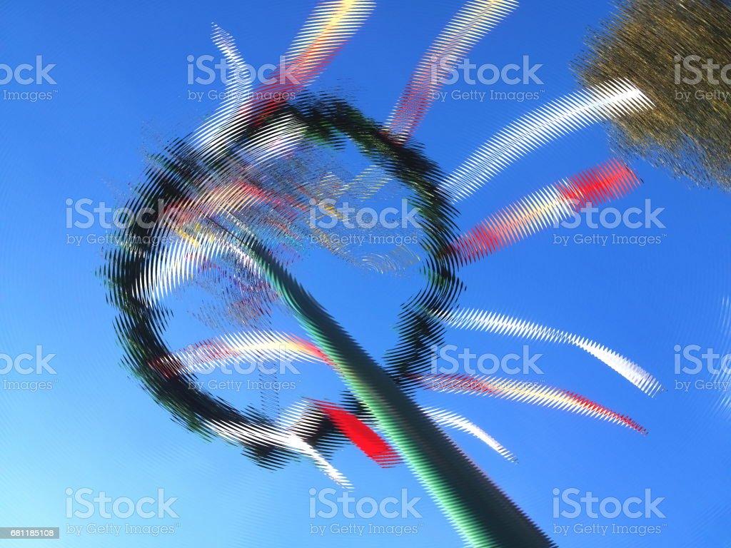 Distorted blurry maypole image. stock photo
