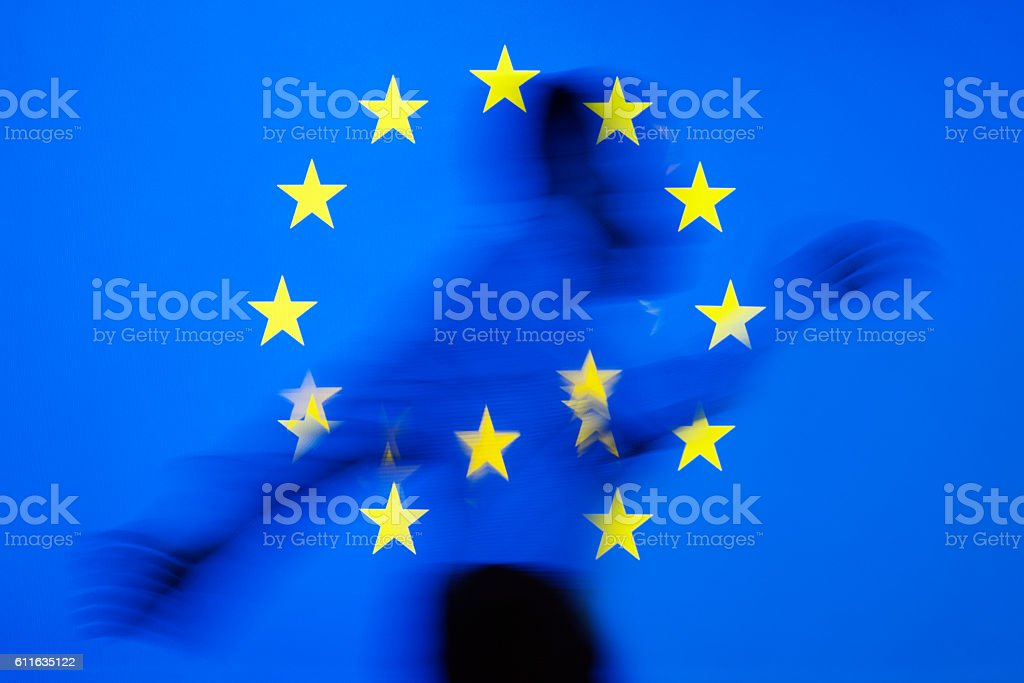 Distorted EU flag stock photo