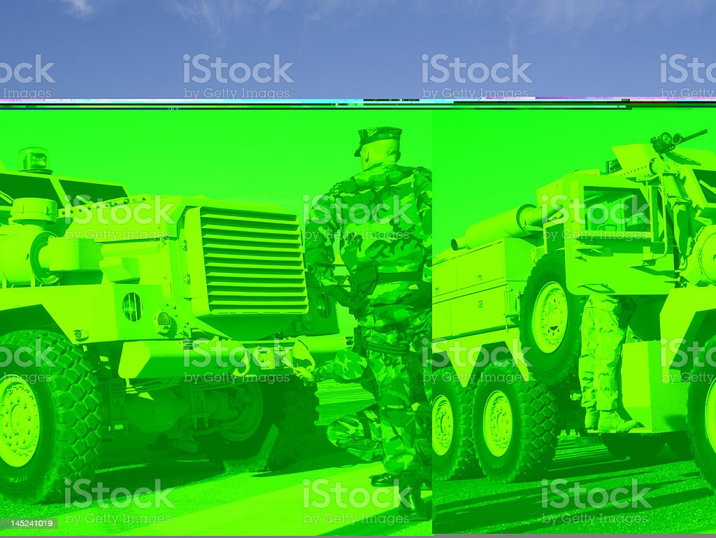 Distorted green photo of military man and vehicle stock photo