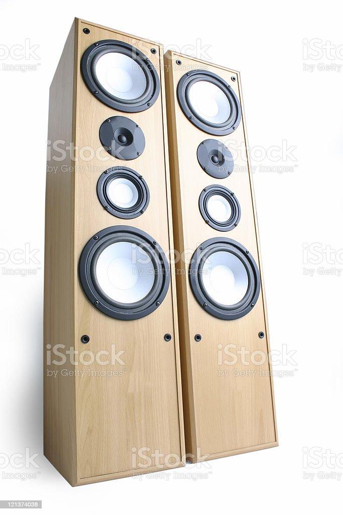 Distorted view of Huge loudspeakers stock photo