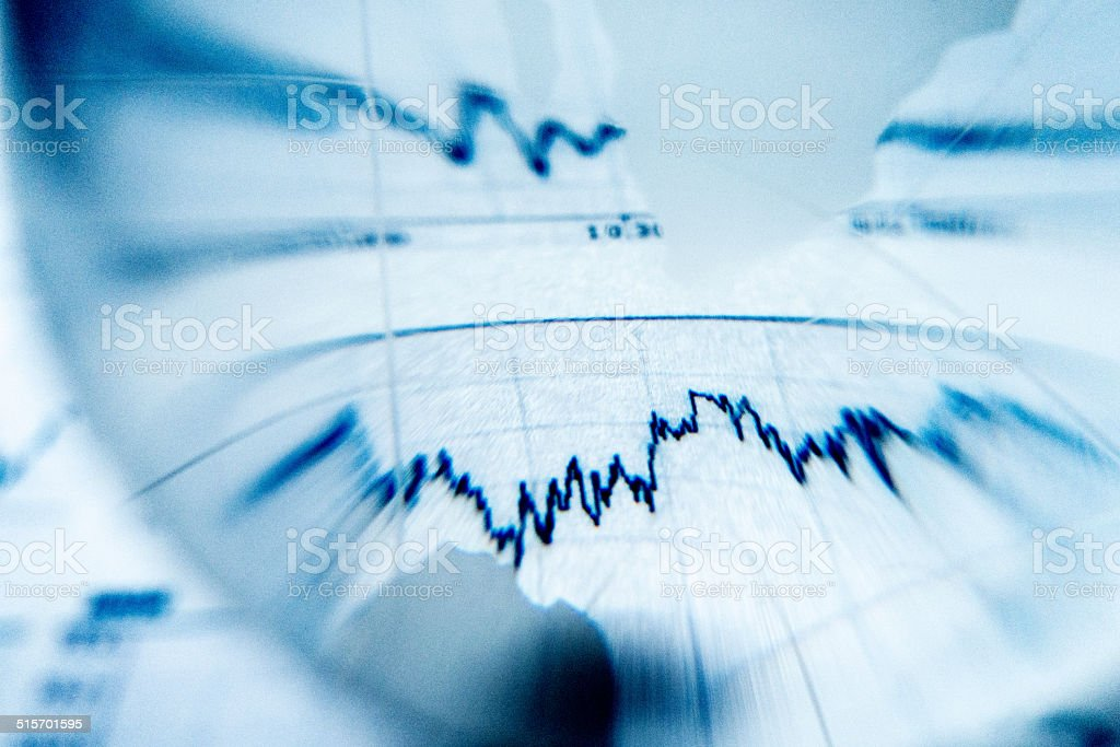 Distorted view of stock market chart stock photo