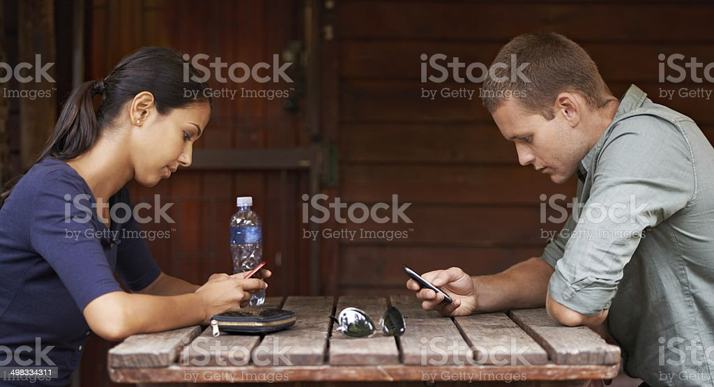 Distracted by technology stock photo