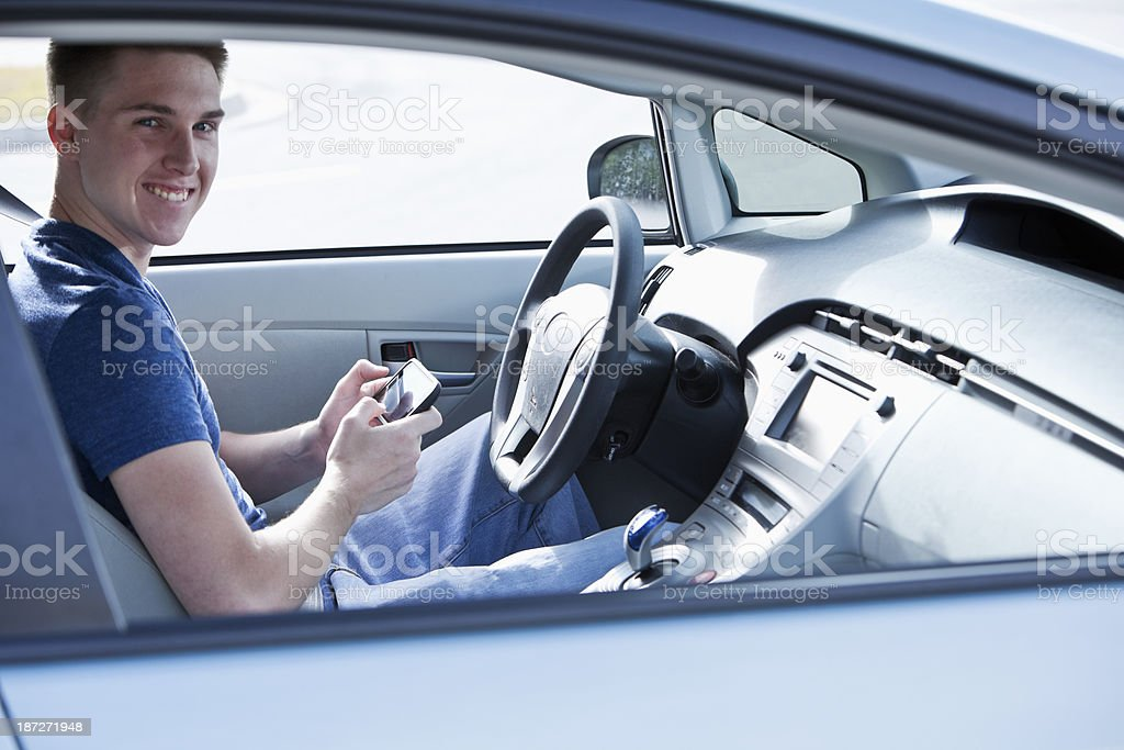Distracted driving stock photo