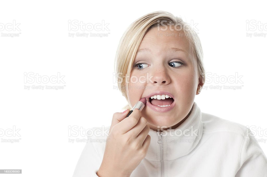 Distracted Female Ruins Make-up stock photo