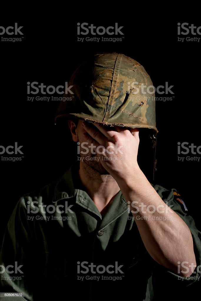 Distraught American Soldier stock photo