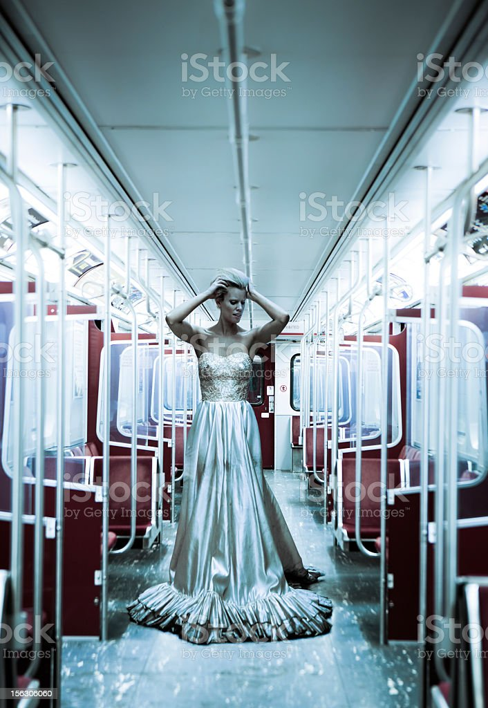 distraught bride in a subway car stock photo