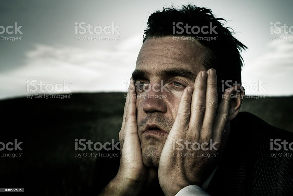 Distraught businessman royalty-free stock photo