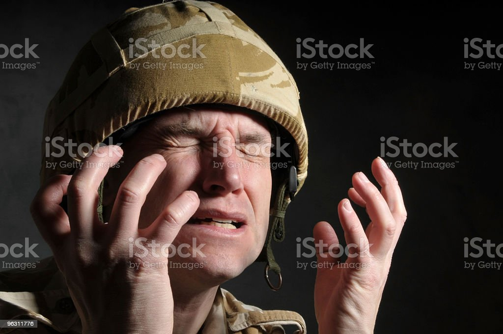 Distraught Soldier stock photo