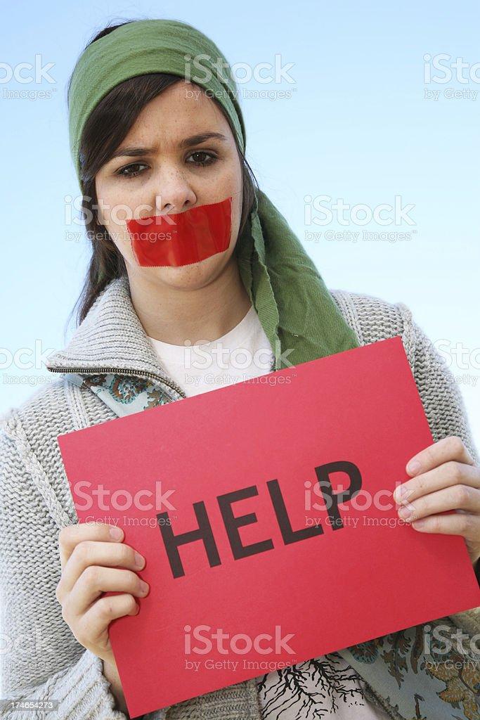 Distraught woman seeking help stock photo