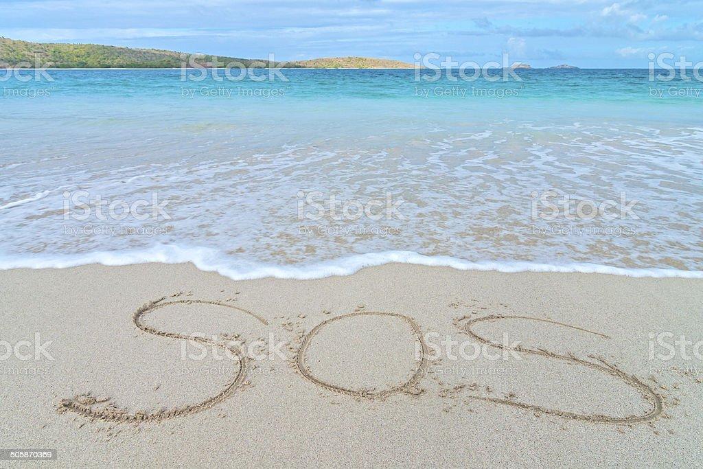SOS distress sign stock photo