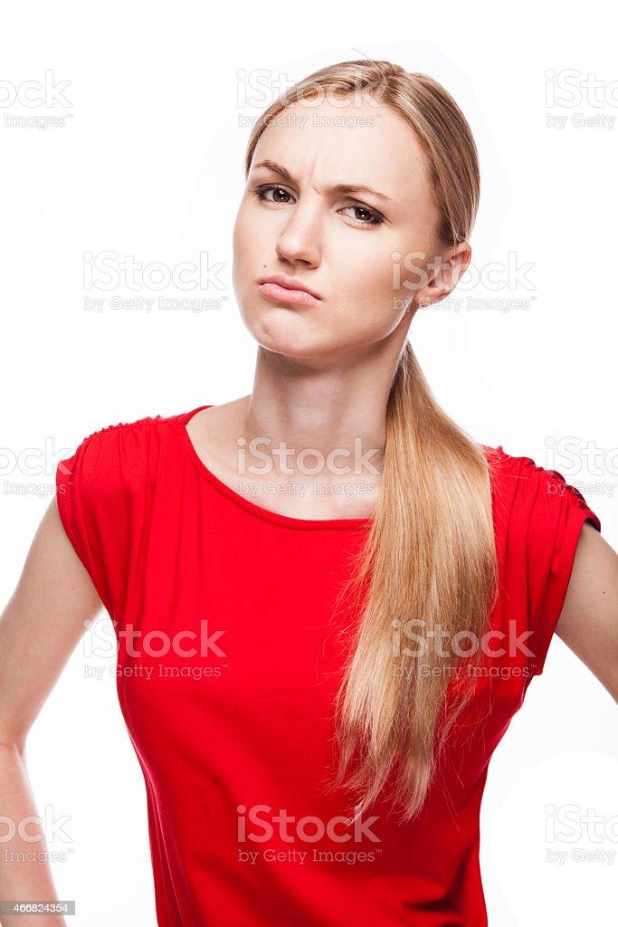 Distressed beautiful girl stock photo