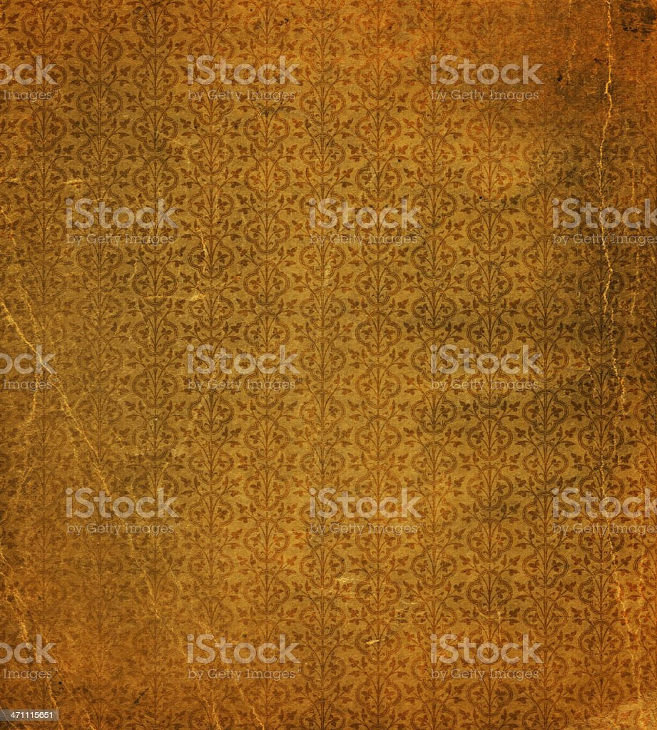 distressed floral wallpaper pattern stock photo