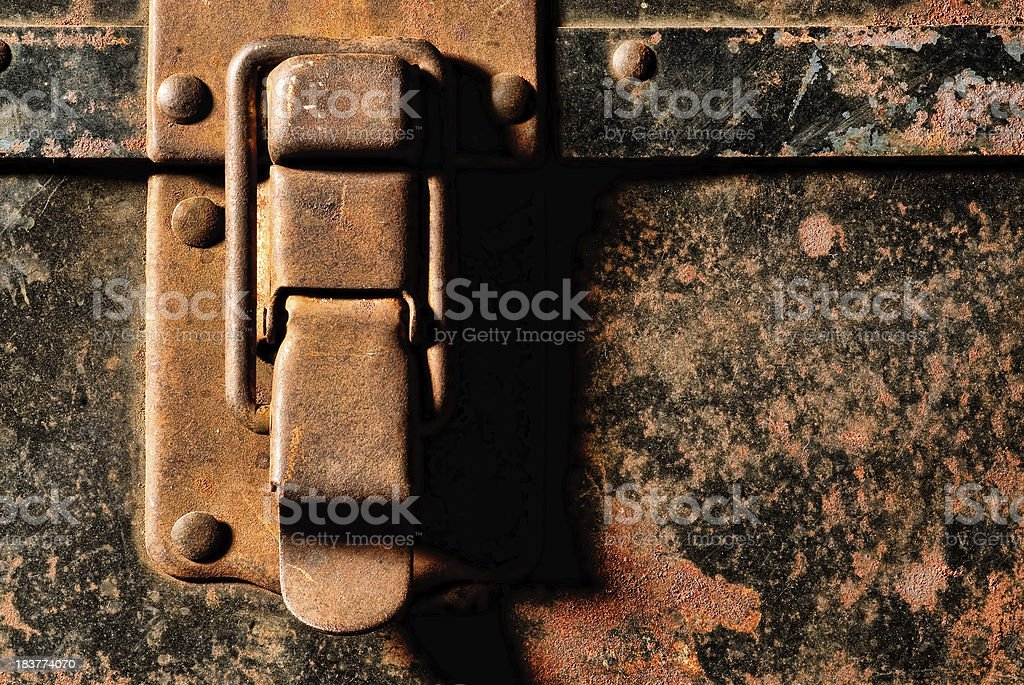 Distressed Latch on Old Suitcase royalty-free stock photo