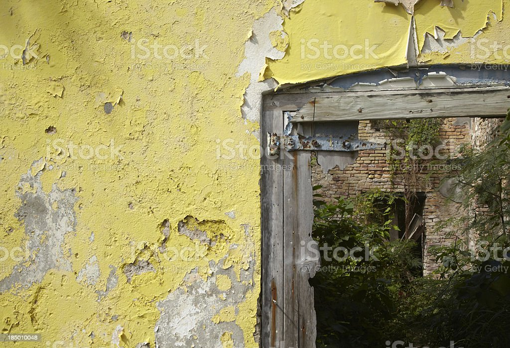 Distressed Wall of Abandoned Building royalty-free stock photo
