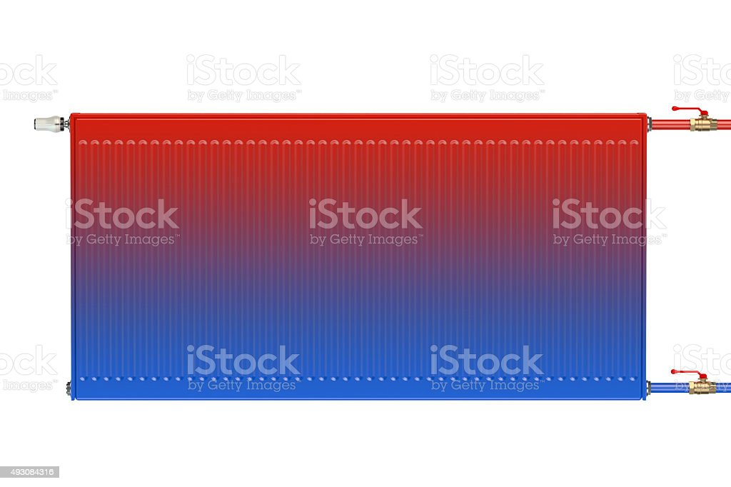 Distribution of heat flow in the eco heating radiator stock photo