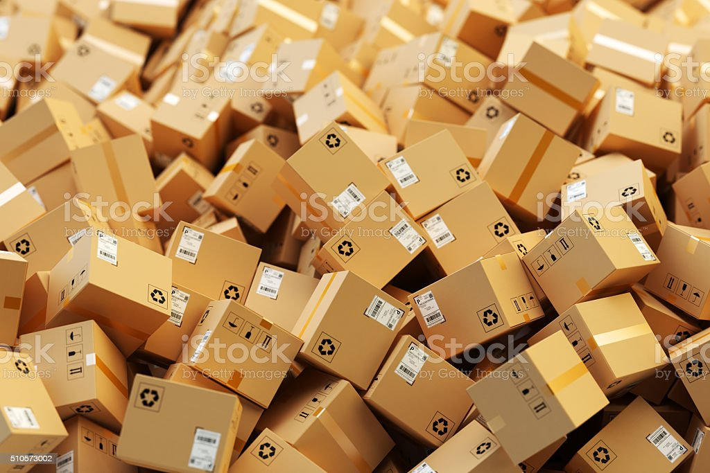 Distribution warehouse, package shipping, freight transportation, logistics and delivery concept stock photo