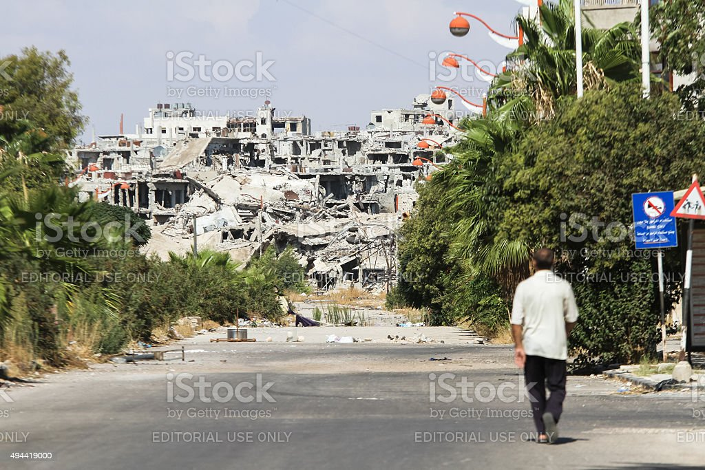 District destroyed by the fighting in Homs stock photo