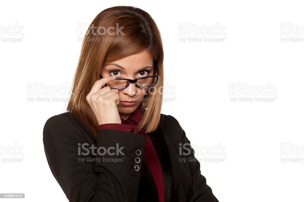 distrustful business woman stock photo