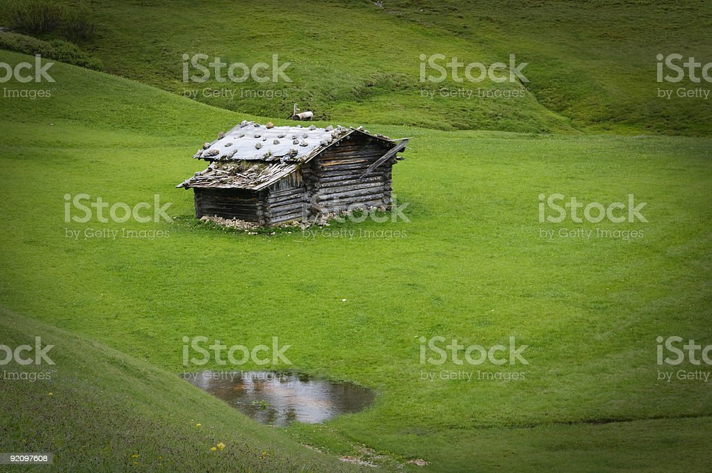 Disused alpine farm stock photo