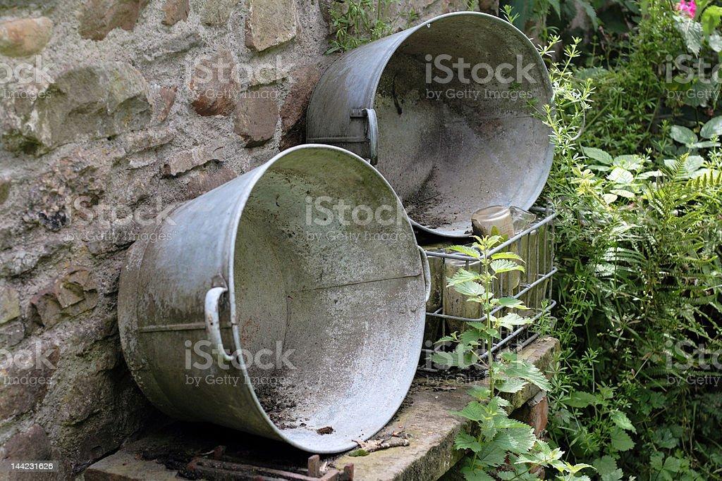 Disused tin baths stock photo