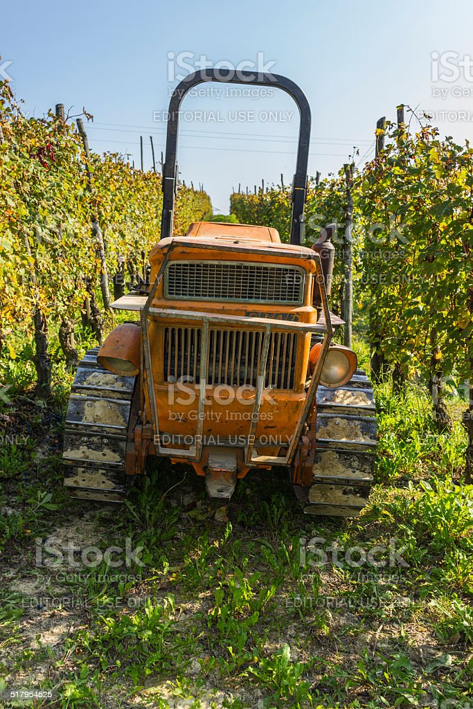 Disused tractor in a vineyard (Langhe, Unesco World Heritage site) stock photo