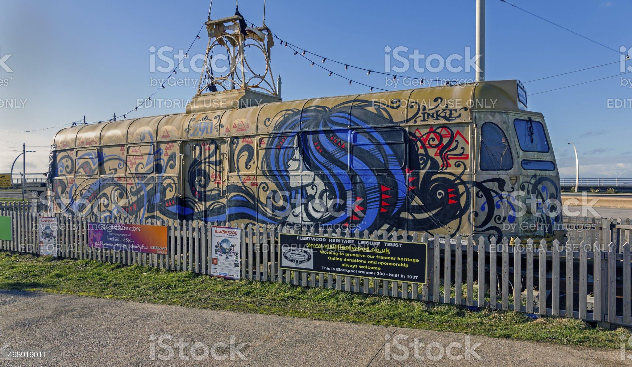 Disused Tram, Blackpool promenade royalty-free stock photo